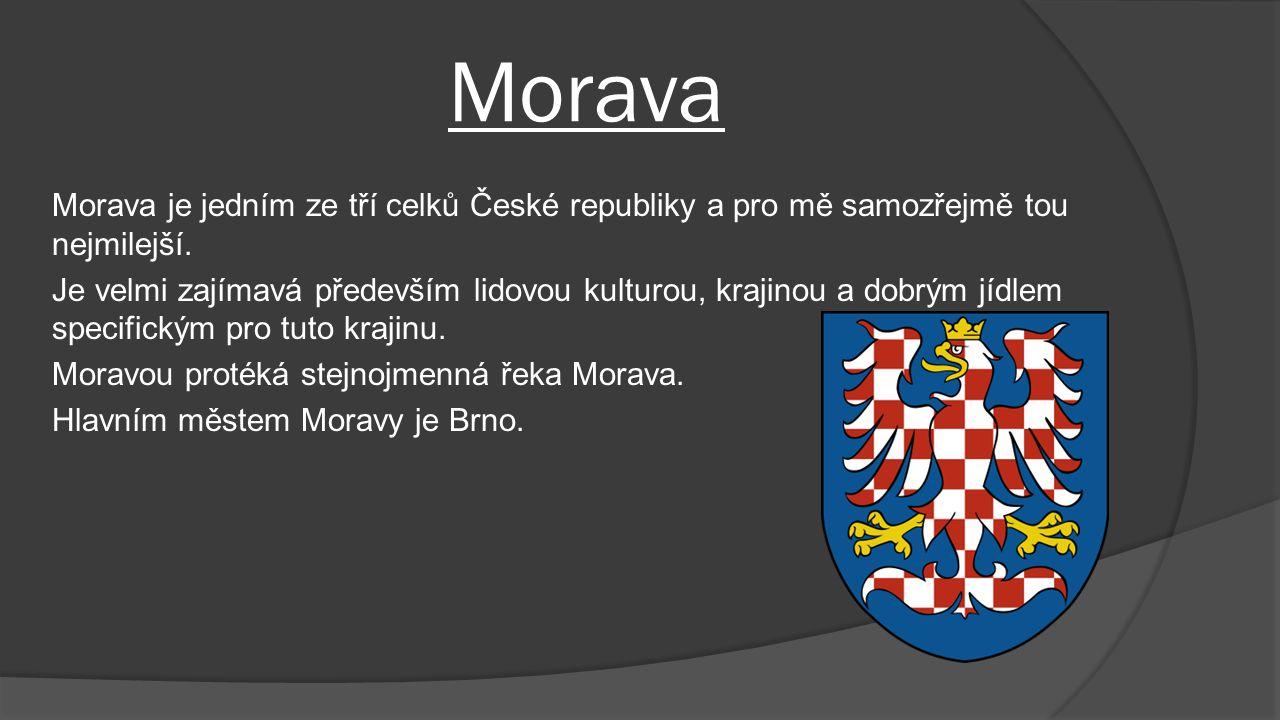 Morava Morava je jedním ze tří celků České republiky a pro mě samozřejmě tou nejmilejší. Je velmi zajímavá především lidovou kulturou, krajinou a dobr