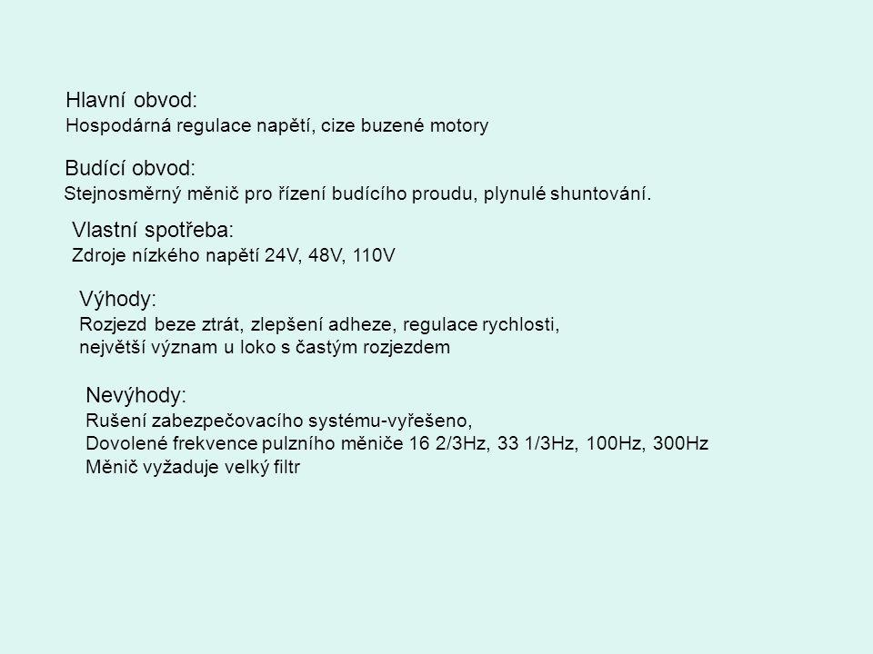Hlavní obvod: Hospodárná regulace napětí, cize buzené motory Budící obvod: Stejnosměrný měnič pro řízení budícího proudu, plynulé shuntování. Vlastní