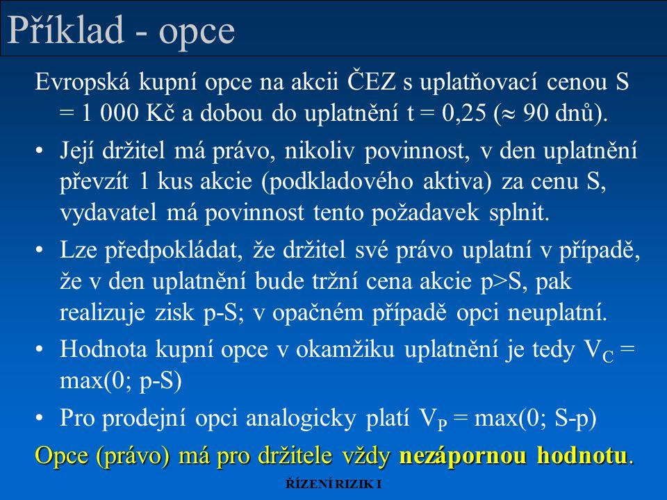ŘÍZENÍ RIZIK I Příklad - opce Evropská kupní opce na akcii ČEZ s uplatňovací cenou S = 1 000 Kč a dobou do uplatnění t = 0,25 (  90 dnů).