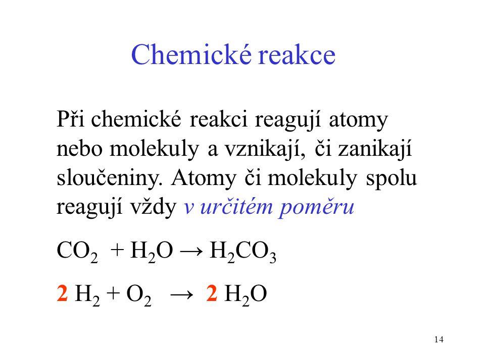 14 Chemické reakce Při chemické reakci reagují atomy nebo molekuly a vznikají, či zanikají sloučeniny. Atomy či molekuly spolu reagují vždy v určitém