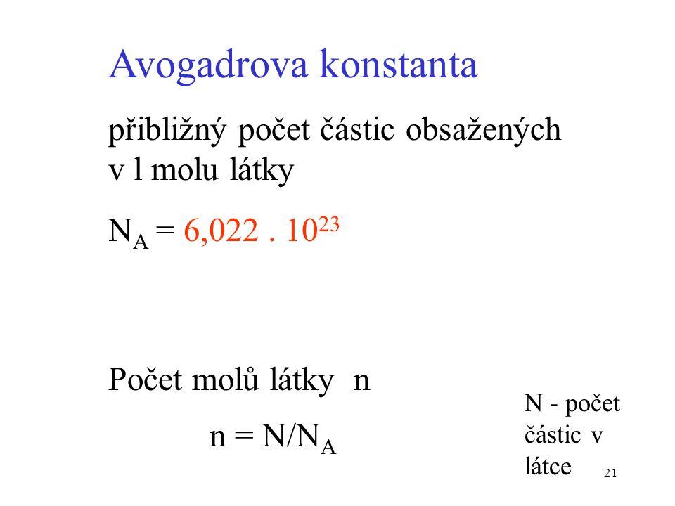 21 Avogadrova konstanta přibližný počet částic obsažených v l molu látky N A = 6,022. 10 23 Počet molů látky n n = N/N A N - počet částic v látce