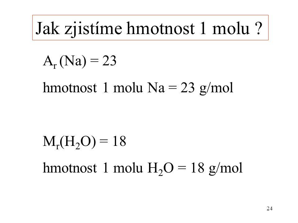 24 A r (Na) = 23 hmotnost 1 molu Na = 23 g/mol M r (H 2 O) = 18 hmotnost 1 molu H 2 O = 18 g/mol Jak zjistíme hmotnost 1 molu ?