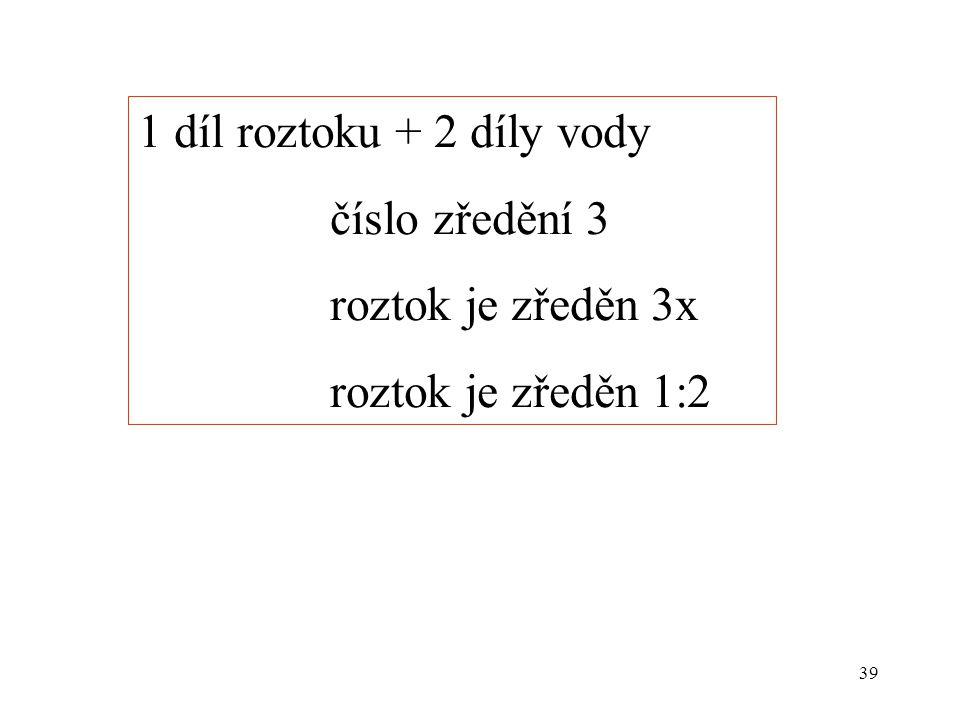 39 1 díl roztoku + 2 díly vody číslo zředění 3 roztok je zředěn 3x roztok je zředěn 1:2