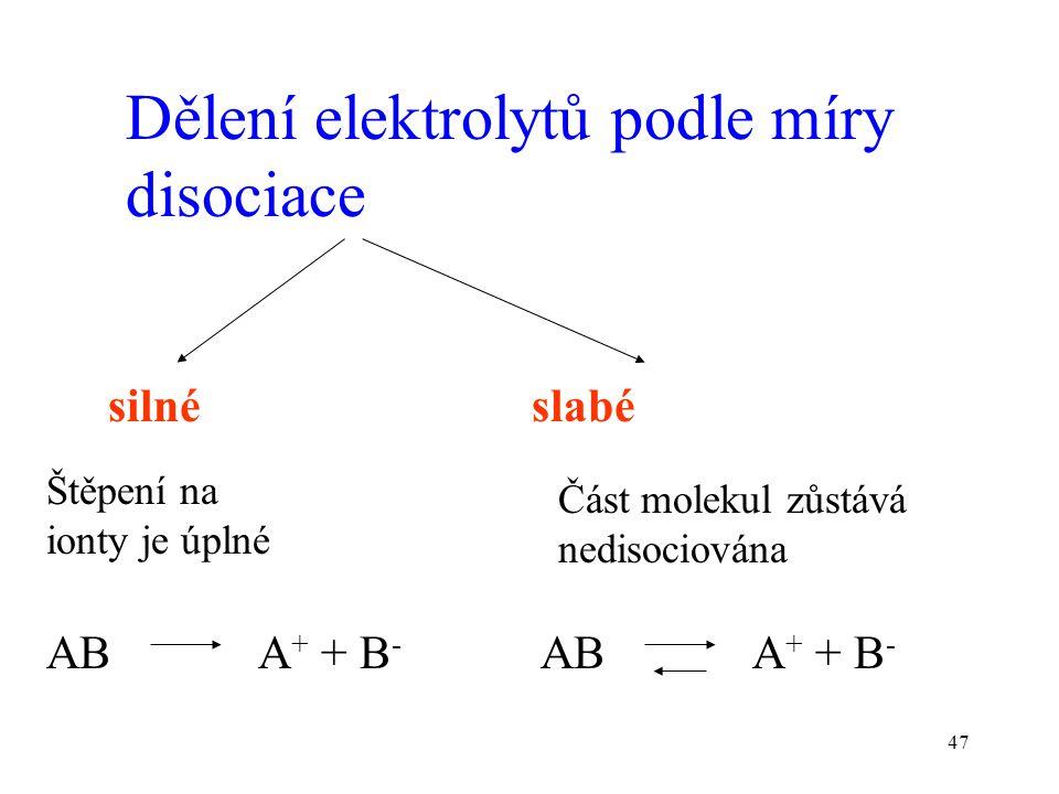 47 Dělení elektrolytů podle míry disociace silné slabé Štěpení na ionty je úplné Část molekul zůstává nedisociována ABA + + B -