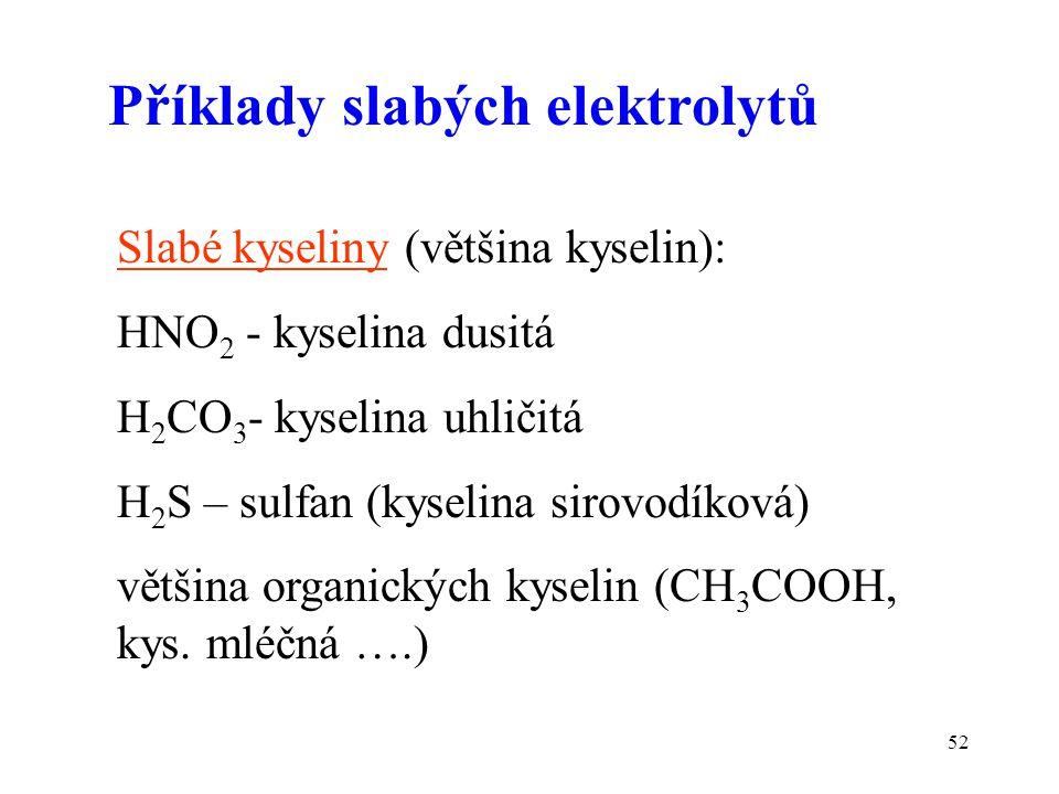 52 Příklady slabých elektrolytů Slabé kyseliny (většina kyselin): HNO 2 - kyselina dusitá H 2 CO 3 - kyselina uhličitá H 2 S – sulfan (kyselina sirovo