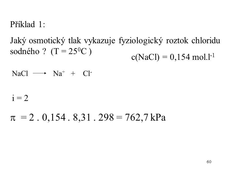 60 Příklad 1: Jaký osmotický tlak vykazuje fyziologický roztok chloridu sodného ? (T = 25 0 C )  = 2. 0,154. 8,31. 298 = 762,7 kPa NaCl Na + + Cl - i