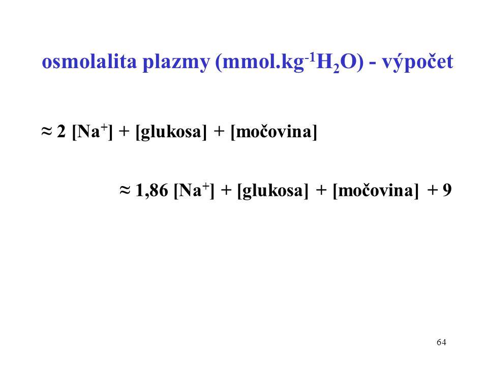 64 osmolalita plazmy (mmol.kg -1 H 2 O) - výpočet ≈ 2 [Na + ] + [glukosa] + [močovina] ≈ 1,86 [Na + ] + [glukosa] + [močovina] + 9