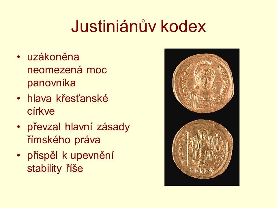 Justiniánův kodex uzákoněna neomezená moc panovníka hlava křesťanské církve převzal hlavní zásady římského práva přispěl k upevnění stability říše
