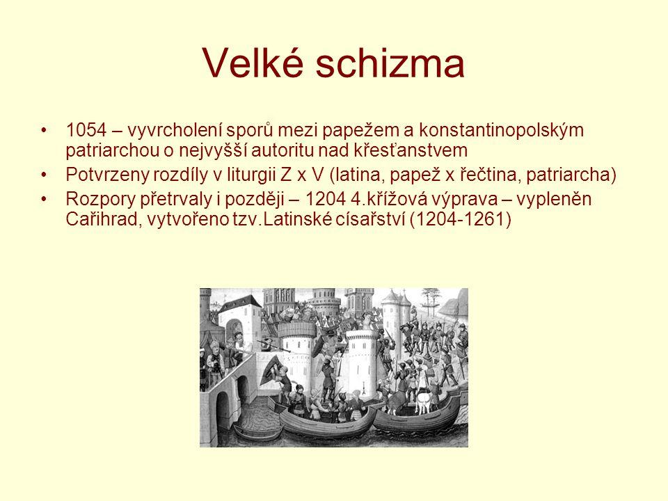 Velké schizma 1054 – vyvrcholení sporů mezi papežem a konstantinopolským patriarchou o nejvyšší autoritu nad křesťanstvem Potvrzeny rozdíly v liturgii
