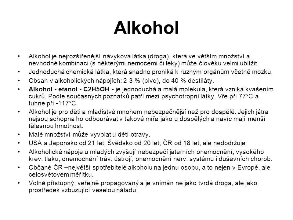 Alkohol Alkohol je nejrozšířenější návyková látka (droga), která ve větším množství a nevhodné kombinaci (s některými nemocemi či léky) může člověku velmi ublížit.