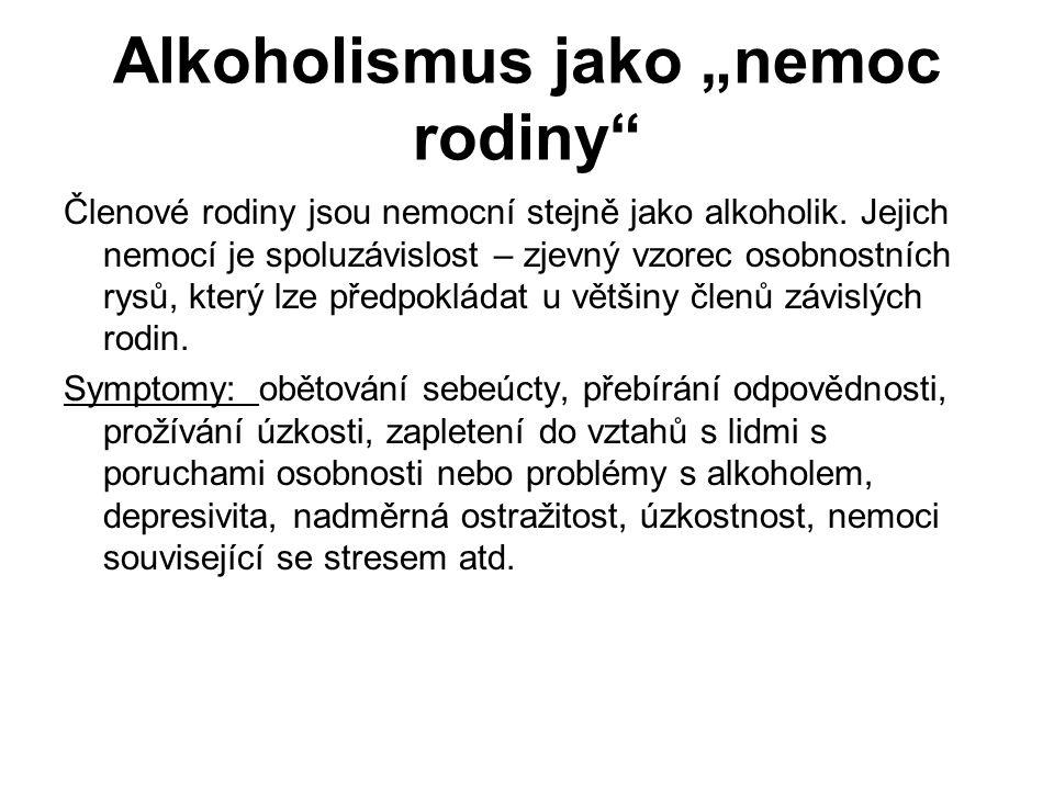 """Alkoholismus jako """"nemoc rodiny Členové rodiny jsou nemocní stejně jako alkoholik."""