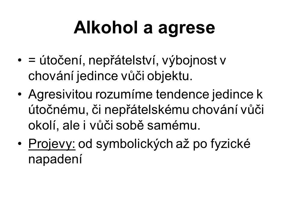 Alkohol a agrese = útočení, nepřátelství, výbojnost v chování jedince vůči objektu.