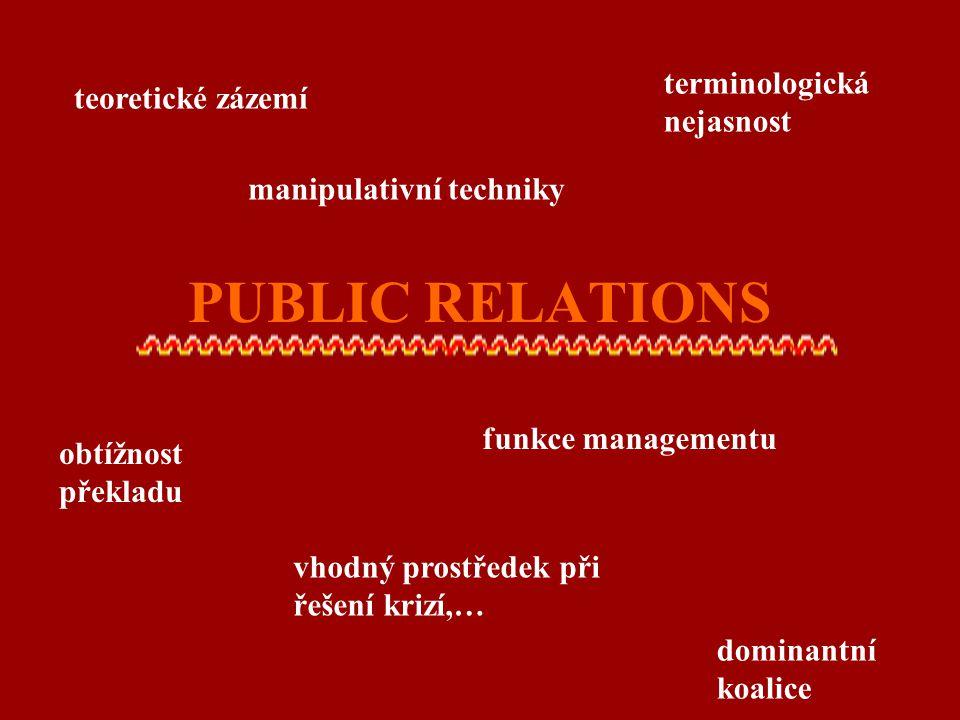 PUBLIC RELATIONS teoretické zázemí manipulativní techniky terminologická nejasnost obtížnost překladu vhodný prostředek při řešení krizí,… funkce mana