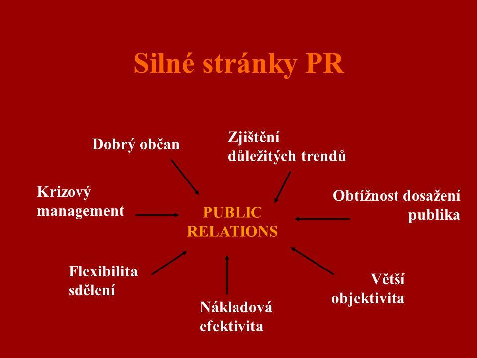 Silné stránky PR PUBLIC RELATIONS Dobrý občan Zjištění důležitých trendů Obtížnost dosažení publika Větší objektivita Nákladová efektivita Flexibilita