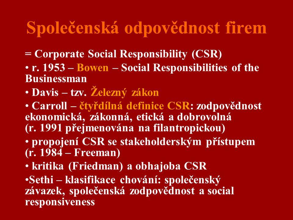 Společenská odpovědnost firem = Corporate Social Responsibility (CSR) r. 1953 – Bowen – Social Responsibilities of the Businessman Davis – tzv. Železn