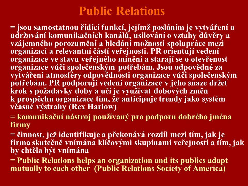 Public Relations = jsou samostatnou řídící funkcí, jejímž posláním je vytváření a udržování komunikačních kanálů, usilování o vztahy důvěry a vzájemné