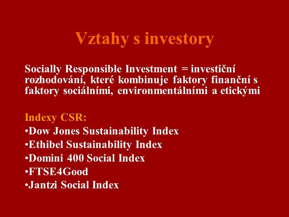 Vztahy s investory Socially Responsible Investment = investiční rozhodování, které kombinuje faktory finanční s faktory sociálními, environmentálními