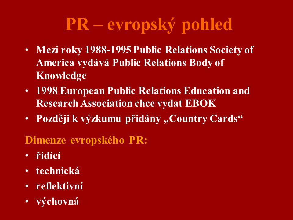 PR – evropský pohled Mezi roky 1988-1995 Public Relations Society of America vydává Public Relations Body of Knowledge 1998 European Public Relations