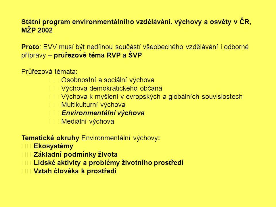 Státní program environmentálního vzdělávání, výchovy a osvěty v ČR, MŽP 2002 Proto: EVV musí být nedílnou součástí všeobecného vzdělávání i odborné př