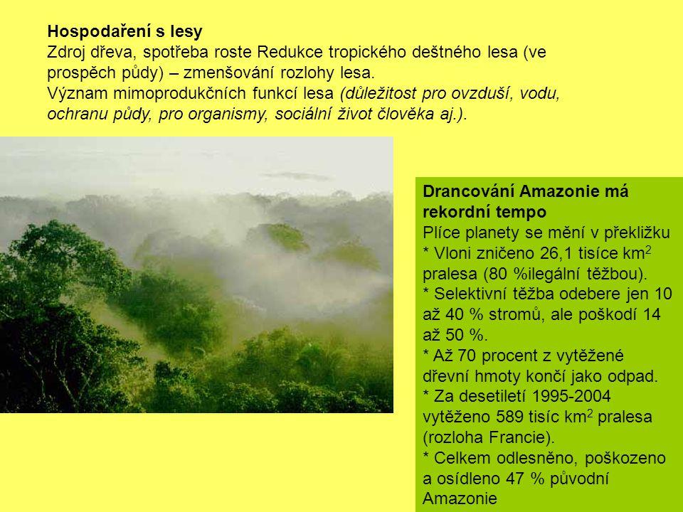 Hospodaření s lesy Zdroj dřeva, spotřeba roste Redukce tropického deštného lesa (ve prospěch půdy) – zmenšování rozlohy lesa. Význam mimoprodukčních f