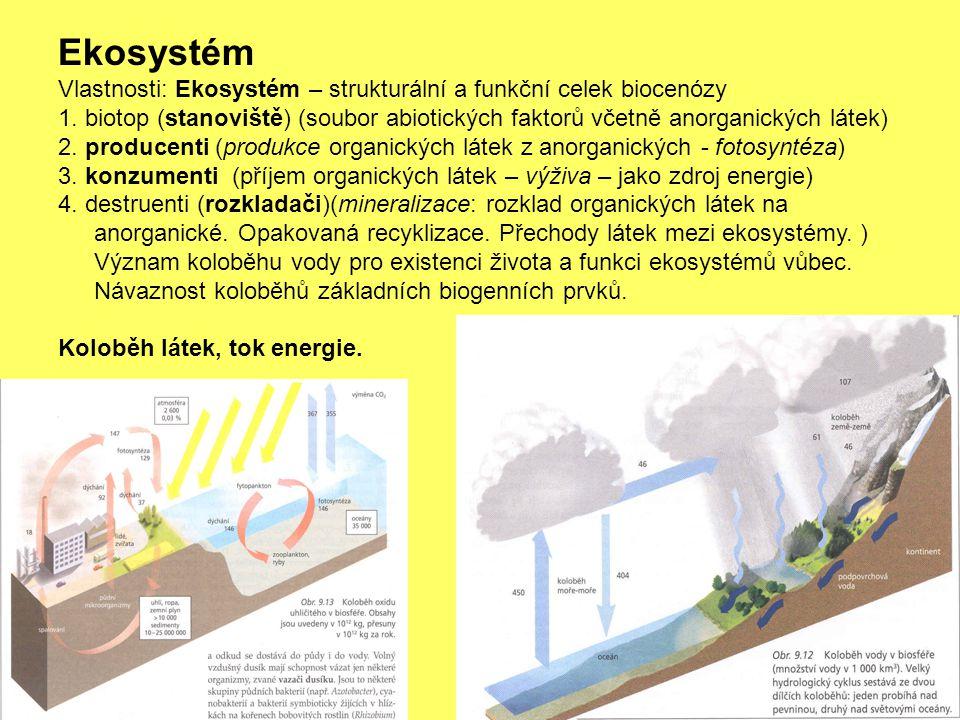 Ekosystém Vlastnosti: Ekosystém – strukturální a funkční celek biocenózy 1. biotop (stanoviště) (soubor abiotických faktorů včetně anorganických látek