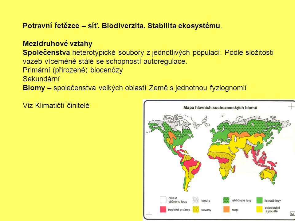 Potravní řetězce – síť. Biodiverzita. Stabilita ekosystému. Mezidruhové vztahy Společenstva heterotypické soubory z jednotlivých populací. Podle složi