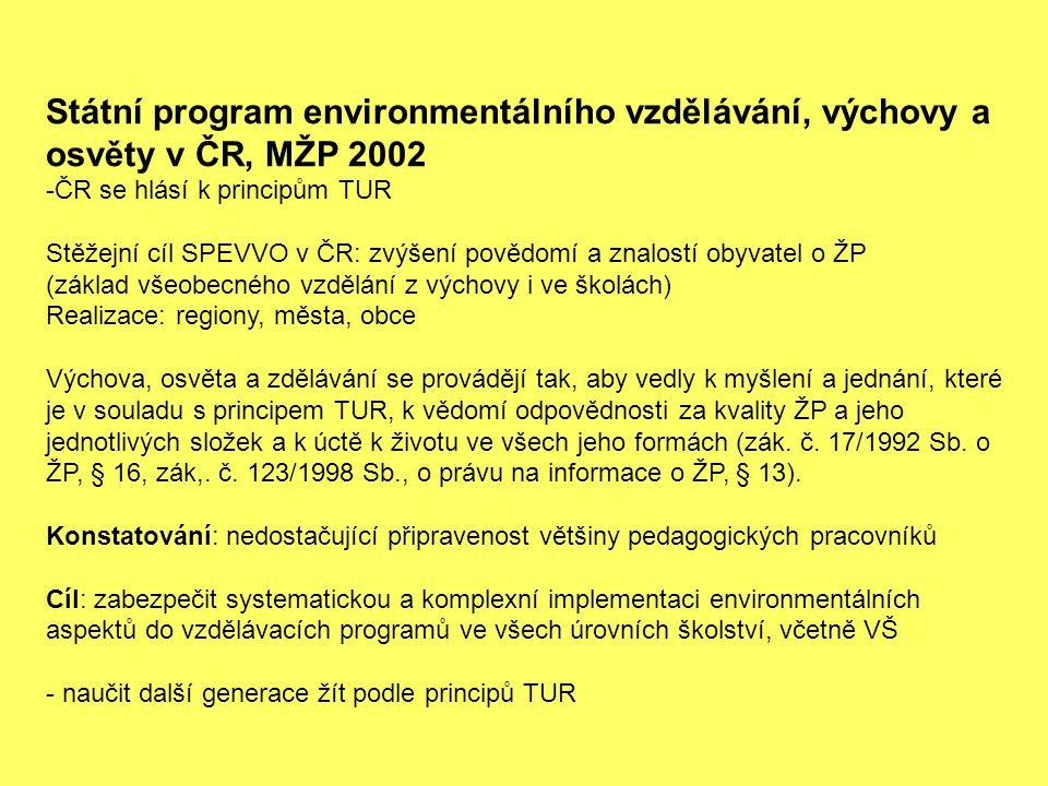 Státní program environmentálního vzdělávání, výchovy a osvěty v ČR, MŽP 2002 -ČR se hlásí k principům TUR Stěžejní cíl SPEVVO v ČR: zvýšení povědomí a