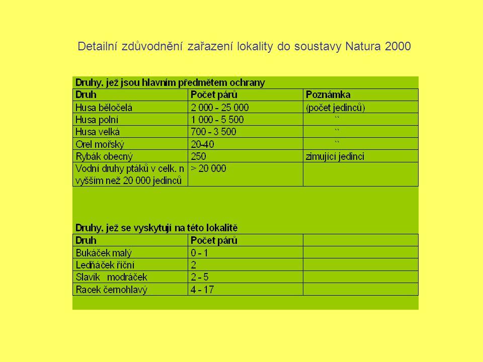 Detailní zdůvodnění zařazení lokality do soustavy Natura 2000