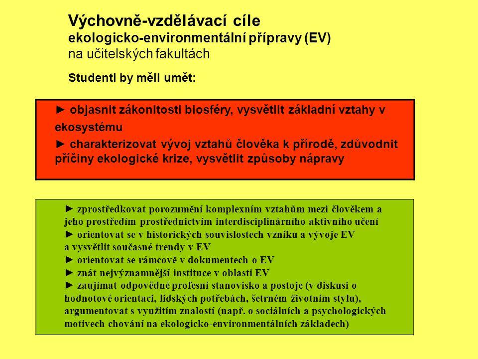 Výchovně-vzdělávací cíle ekologicko-environmentální přípravy (EV) na učitelských fakultách Studenti by měli umět: ► zprostředkovat porozumění komplexn