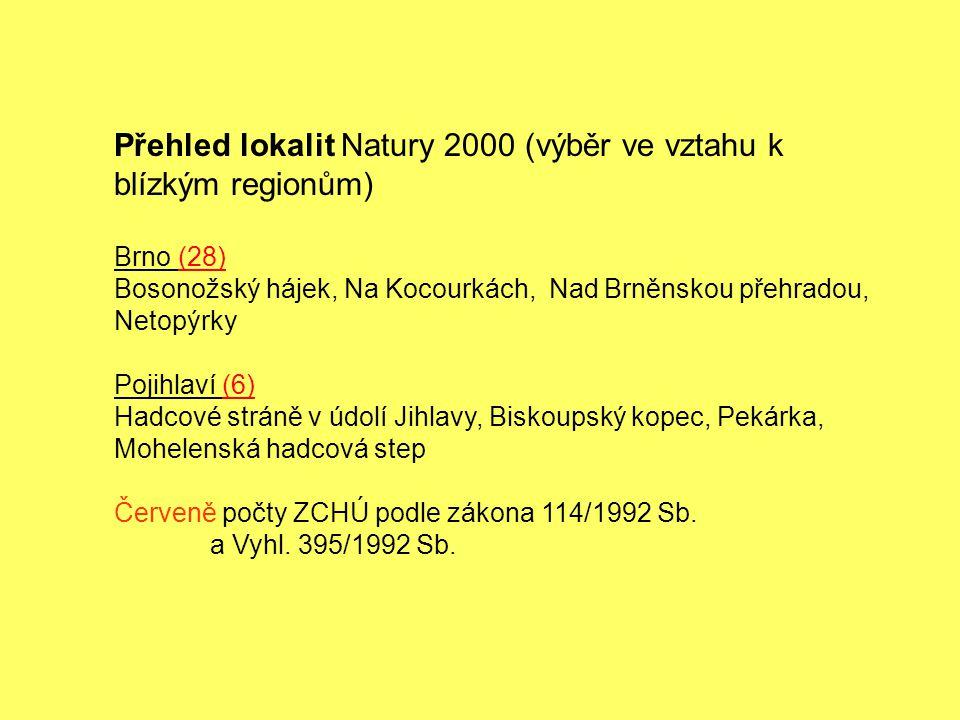 Přehled lokalit Natury 2000 (výběr ve vztahu k blízkým regionům) Brno (28) Bosonožský hájek, Na Kocourkách, Nad Brněnskou přehradou, Netopýrky Pojihla