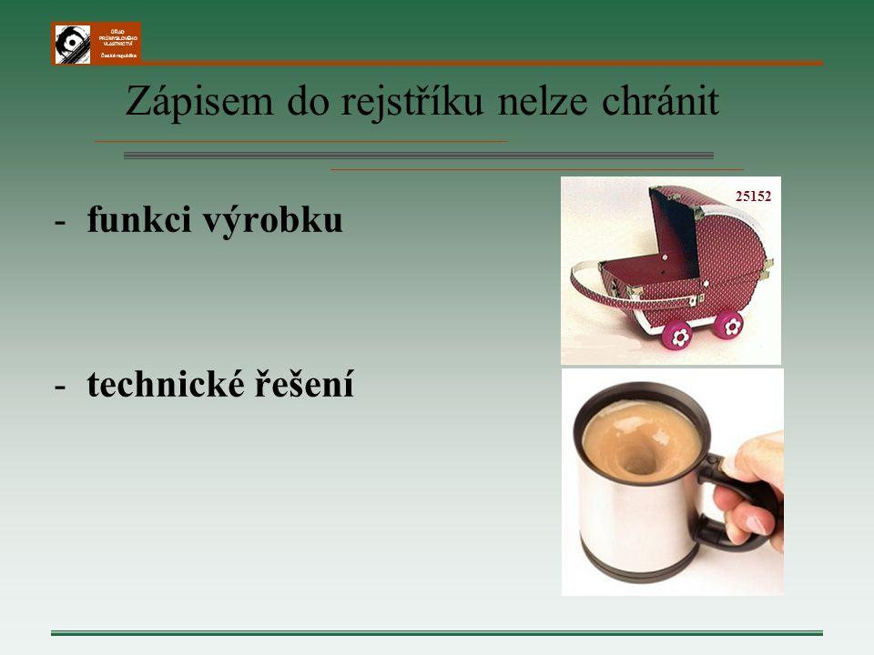 ÚŘAD PRŮMYSLOVÉHO VLASTNICTVÍ Česká republika Zápisem do rejstříku nelze chránit -funkci výrobku -technické řešení 25152