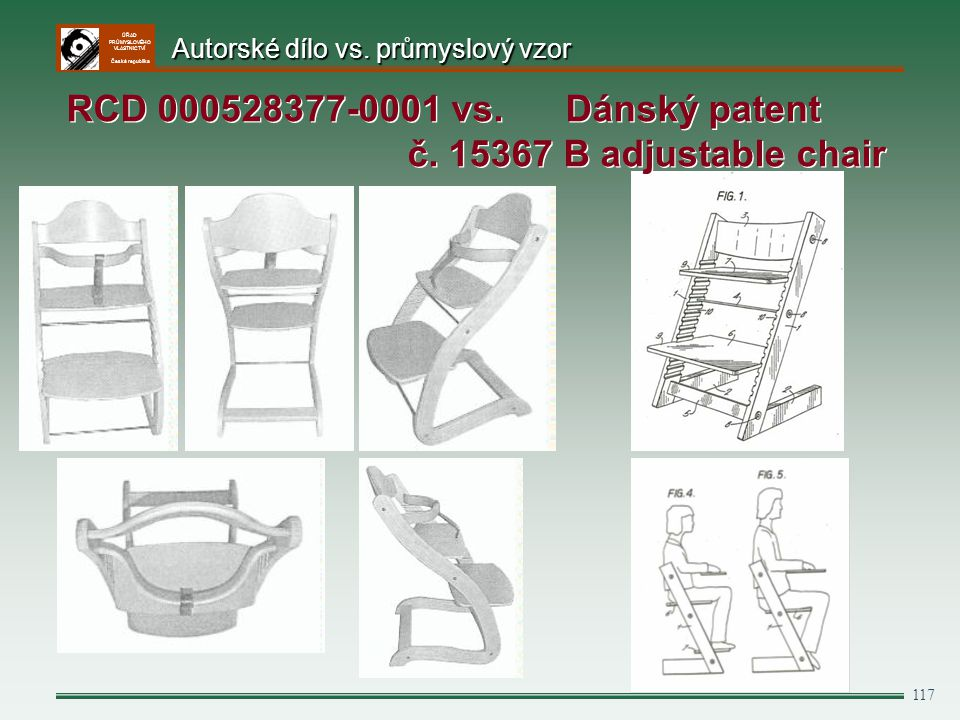 ÚŘAD PRŮMYSLOVÉHO VLASTNICTVÍ Česká republika 117 RCD 000528377-0001 vs. Dánský patent č. 15367 B adjustable chair Autorské dílo vs. průmyslový vzor