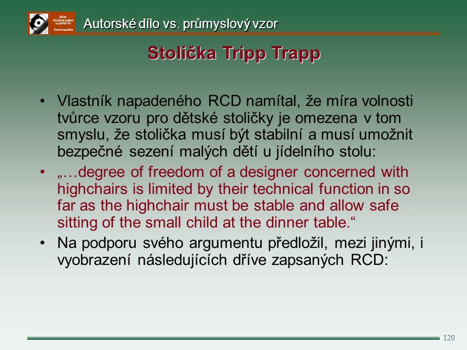 ÚŘAD PRŮMYSLOVÉHO VLASTNICTVÍ Česká republika 120 Vlastník napadeného RCD namítal, že míra volnosti tvůrce vzoru pro dětské stoličky je omezena v tom