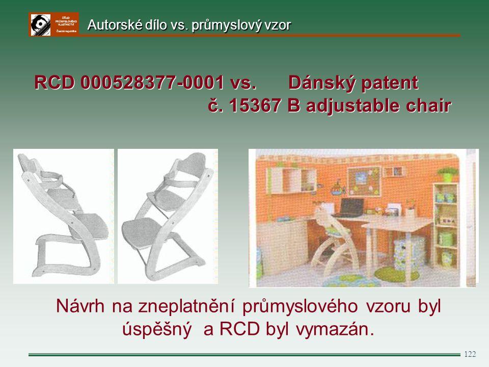 ÚŘAD PRŮMYSLOVÉHO VLASTNICTVÍ Česká republika 122 Návrh na zneplatnění průmyslového vzoru byl úspěšný a RCD byl vymazán. RCD 000528377-0001 vs. Dánský