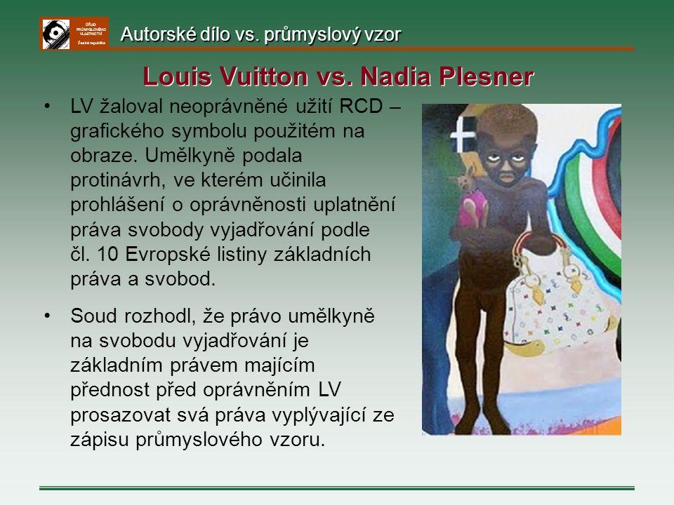 ÚŘAD PRŮMYSLOVÉHO VLASTNICTVÍ Česká republika LV žaloval neoprávněné užití RCD – grafického symbolu použitém na obraze. Umělkyně podala protinávrh, ve