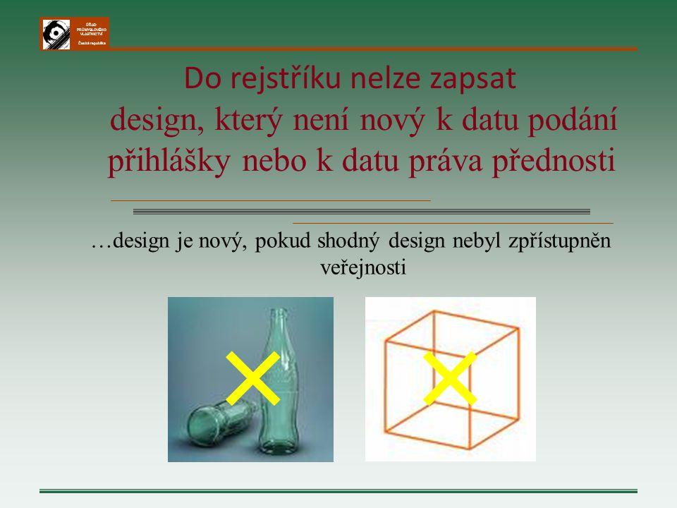 ÚŘAD PRŮMYSLOVÉHO VLASTNICTVÍ Česká republika …design je nový, pokud shodný design nebyl zpřístupněn veřejnosti Do rejstříku nelze zapsat design, kter