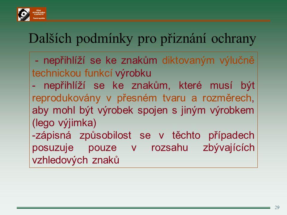 ÚŘAD PRŮMYSLOVÉHO VLASTNICTVÍ Česká republika 29 Dalších podmínky pro přiznání ochrany - nepřihlíží se ke znakům diktovaným výlučně technickou funkcí