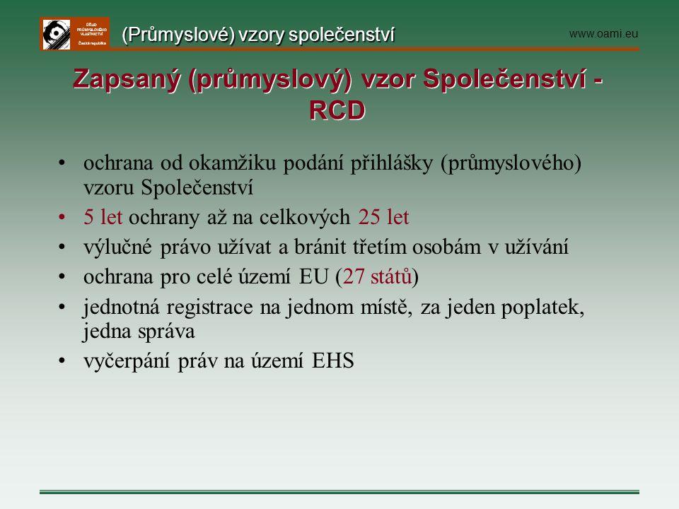 ÚŘAD PRŮMYSLOVÉHO VLASTNICTVÍ Česká republika ochrana od okamžiku podání přihlášky (průmyslového) vzoru Společenství 5 let ochrany až na celkových 25