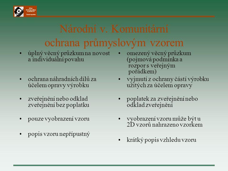 ÚŘAD PRŮMYSLOVÉHO VLASTNICTVÍ Česká republika Národní v. Komunitární ochrana průmyslovým vzorem úplný věcný průzkum na novost a individuální povahu oc