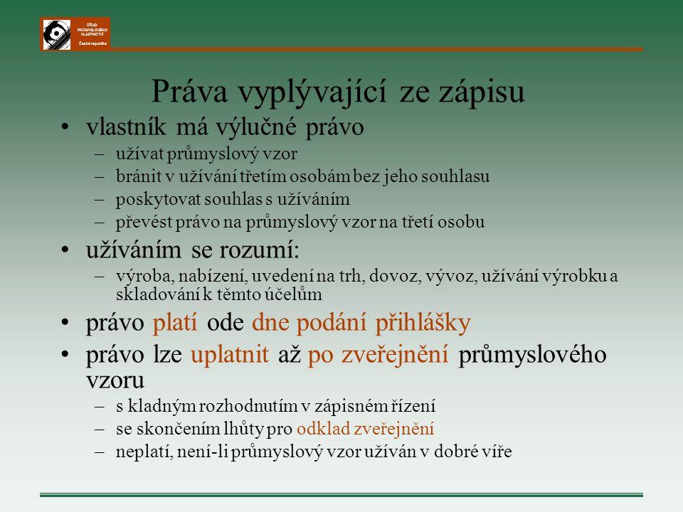 ÚŘAD PRŮMYSLOVÉHO VLASTNICTVÍ Česká republika Práva vyplývající ze zápisu vlastník má výlučné právo –užívat průmyslový vzor –bránit v užívání třetím o