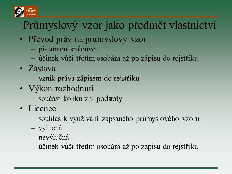 ÚŘAD PRŮMYSLOVÉHO VLASTNICTVÍ Česká republika Průmyslový vzor jako předmět vlastnictví Převod práv na průmyslový vzor –písemnou smlouvou –účinek vůči