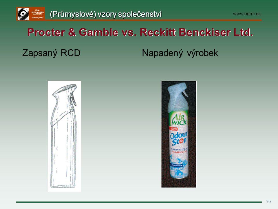 ÚŘAD PRŮMYSLOVÉHO VLASTNICTVÍ Česká republika 70 Zapsaný RCD Napadený výrobek (Průmyslové) vzory společenství www.oami.eu Procter & Gamble vs. Reckitt