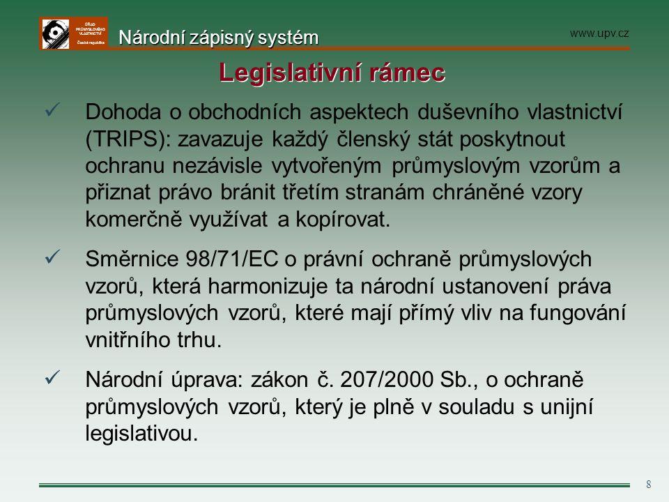 ÚŘAD PRŮMYSLOVÉHO VLASTNICTVÍ Česká republika 29 Dalších podmínky pro přiznání ochrany - nepřihlíží se ke znakům diktovaným výlučně technickou funkcí výrobku - nepřihlíží se ke znakům, které musí být reprodukovány v přesném tvaru a rozměrech, aby mohl být výrobek spojen s jiným výrobkem (lego výjimka) -zápisná způsobilost se v těchto případech posuzuje pouze v rozsahu zbývajících vzhledových znaků