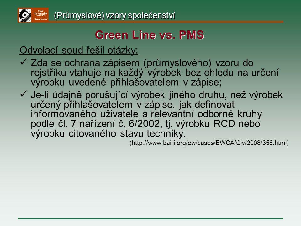 ÚŘAD PRŮMYSLOVÉHO VLASTNICTVÍ Česká republika Odvolací soud řešil otázky: Zda se ochrana zápisem (průmyslového) vzoru do rejstříku vtahuje na každý vý