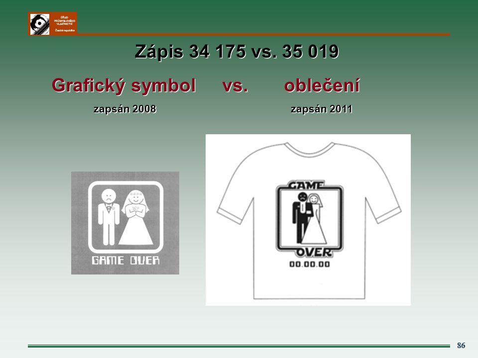 ÚŘAD PRŮMYSLOVÉHO VLASTNICTVÍ Česká republika 86 Zápis 34 175 vs. 35 019 Grafický symbol vs. oblečení zapsán 2008 zapsán 2011 Zápis 34 175 vs. 35 019
