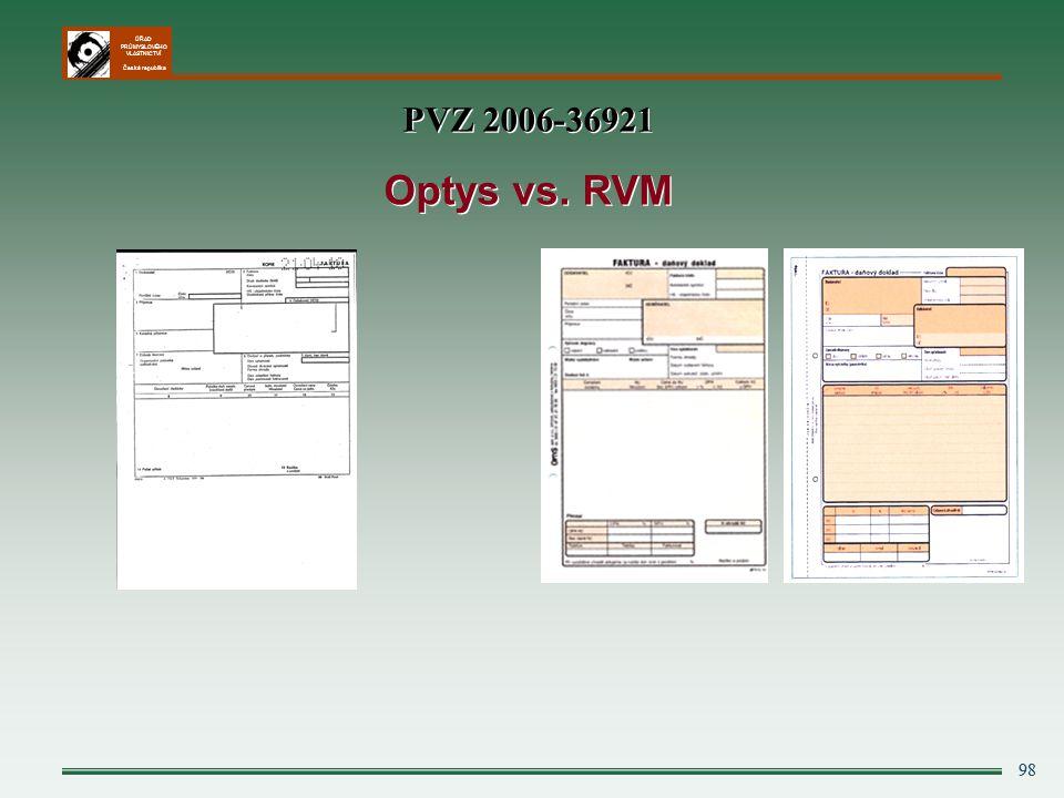 ÚŘAD PRŮMYSLOVÉHO VLASTNICTVÍ Česká republika 98 PVZ 2006-36921 Optys vs. RVM PVZ 2006-36921 Optys vs. RVM