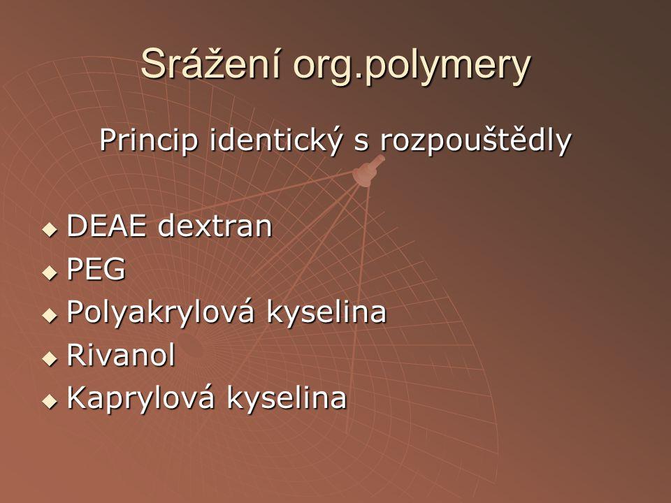 Srážení org.polymery Princip identický s rozpouštědly  DEAE dextran  PEG  Polyakrylová kyselina  Rivanol  Kaprylová kyselina
