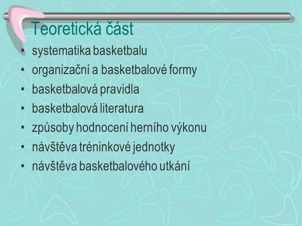Teoretická část systematika basketbalu organizační a basketbalové formy basketbalová pravidla basketbalová literatura způsoby hodnocení herního výkonu