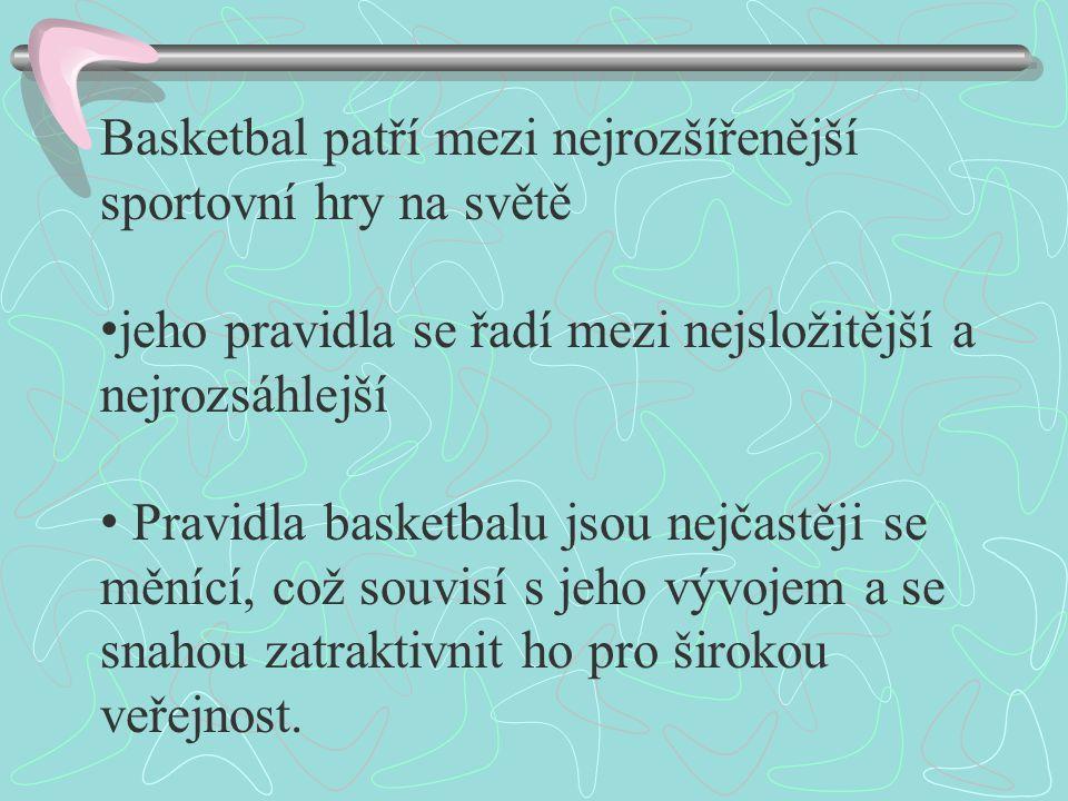 Basketbal patří mezi nejrozšířenější sportovní hry na světě jeho pravidla se řadí mezi nejsložitější a nejrozsáhlejší Pravidla basketbalu jsou nejčast
