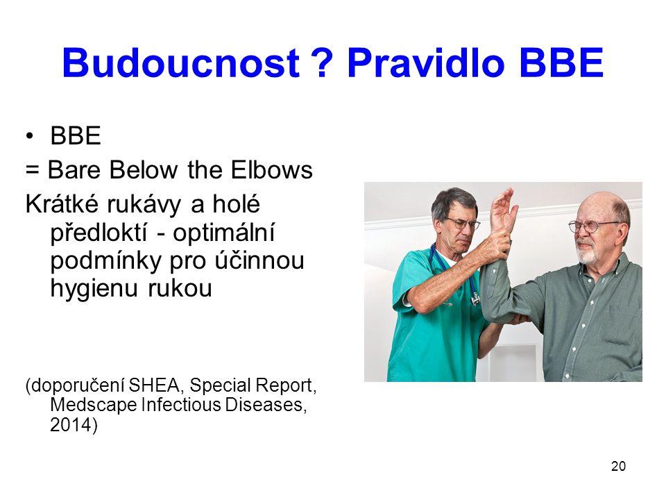 20 Budoucnost ? Pravidlo BBE BBE = Bare Below the Elbows Krátké rukávy a holé předloktí - optimální podmínky pro účinnou hygienu rukou (doporučení SHE